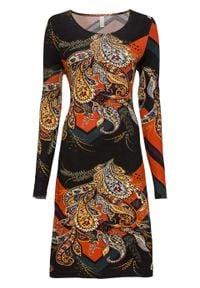 Sukienka z dżerseju z nadrukiem bonprix czarny z kolorowym nadrukiem. Kolor: czarny. Materiał: jersey. Długość rękawa: długi rękaw. Wzór: kolorowy, nadruk. Styl: elegancki