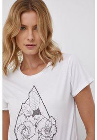 Volcom - T-shirt. Okazja: na co dzień. Kolor: biały. Wzór: nadruk. Styl: casual