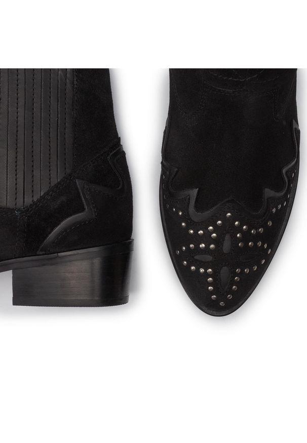 Czarne botki Pepe Jeans z aplikacjami, z cholewką
