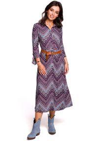 MOE - Wzorzysta Midi Sukienka Zapinana na Guziki Model 1. Materiał: bawełna, poliester, elastan. Długość: midi