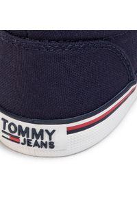 Niebieskie półbuty Tommy Jeans casualowe, z cholewką, na co dzień