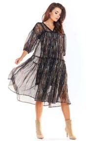 Awama - Zwiewna Wzorzysta Sukienka z Szyfonu - Wzór 3. Materiał: szyfon. Wzór: kwiaty