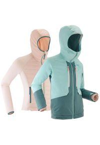 WEDZE - Kurtka narciarska dla dzieci Wedze Freeride 900 3 w 1. Kolor: niebieski, zielony, wielokolorowy. Materiał: materiał. Sport: narciarstwo