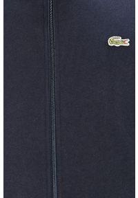 Niebieska bluza nierozpinana Lacoste z aplikacjami, casualowa, bez kaptura