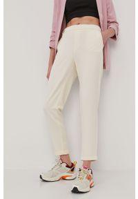 Kremowe spodnie materiałowe Vero Moda na co dzień, gładkie