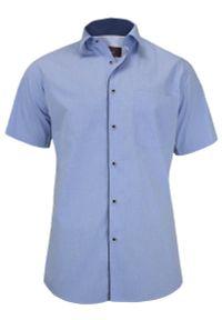 Niebieska elegancka koszula Jurel krótka, do pracy