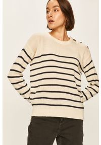 Kremowy sweter ANSWEAR z aplikacjami, na co dzień