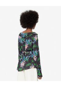 Kenzo - KENZO - Czarna koszula w lilie wodne. Okazja: na co dzień. Kolor: czarny. Materiał: wiskoza. Wzór: aplikacja, nadruk. Sezon: wiosna, lato. Styl: casual