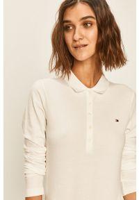 Biała bluzka z długim rękawem TOMMY HILFIGER na co dzień, krótka, casualowa