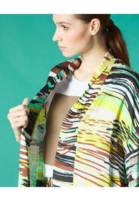 Manila Grace - MANILA GRACE - Wzorzysty żakiet o luźnym kroju. Kolor: brązowy. Materiał: wiskoza. Wzór: aplikacja, nadruk. Sezon: lato, wiosna