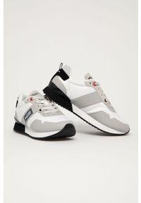 Białe sneakersy Big-Star na niskim obcasie, z cholewką, z okrągłym noskiem