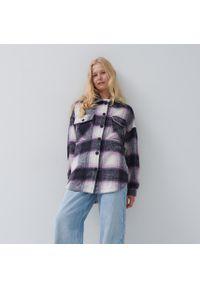 House - Koszula wierzchnia oversize w kratę - Fioletowy. Kolor: fioletowy