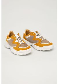 Żółte buty sportowe Answear Lab na obcasie, na sznurówki