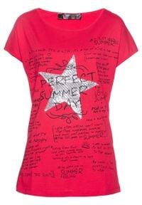Shirt bonprix różowy hibiskus z nadrukiem. Kolor: różowy. Wzór: nadruk