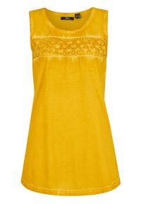 """Długi top bawełniany z efektem """"cold dye"""" z koronkową wstawką bonprix żółty curry. Kolor: żółty. Materiał: bawełna, koronka. Długość: długie"""