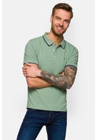 Lancerto - Koszulka Jasnozielona Polo Dominic. Typ kołnierza: polo. Kolor: zielony. Materiał: materiał, tkanina, bawełna, włókno. Długość rękawa: krótki rękaw. Wzór: ze splotem. Styl: klasyczny