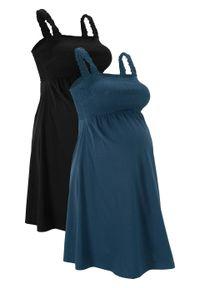 Sukienka ciążowa z bawełny organicznej (2 szt.) bonprix ciemnoniebiesko-czarny. Kolekcja: moda ciążowa. Kolor: niebieski. Materiał: bawełna