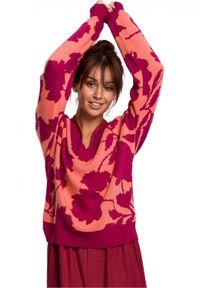 Sweter w kwiaty, długi, z długim rękawem, elegancki
