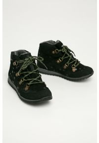 Czarne buty zimowe Mrugała z cholewką, na zimę, na sznurówki