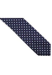 Adam Collection - Granatowy krawat męski w kropki D253. Kolor: niebieski. Materiał: tkanina, mikrofibra. Wzór: kropki