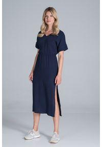 Figl - Bawełniana Długa Sukienka z Rozcięciem na Boku - Granatowa. Kolor: niebieski. Materiał: bawełna. Długość: maxi