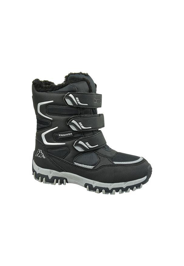 Czarne buty trekkingowe Kappa na zimę, w kolorowe wzory