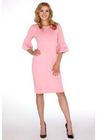 Merribel - Różowa Dopasowana Sukienka z Hiszpańskim Rękawkiem. Kolor: różowy. Materiał: poliester. Długość rękawa: krótki rękaw