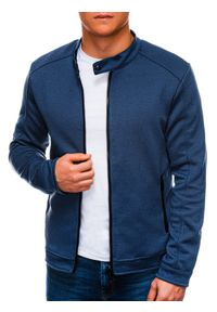 Ombre Clothing - Bluza męska rozpinana bez kaptura C453 - granatowa - XXL. Typ kołnierza: bez kaptura. Kolor: niebieski. Materiał: bawełna, żakard, poliester