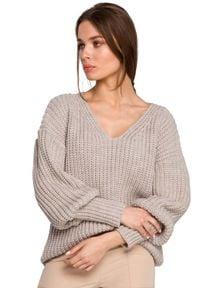 MOE - Sweter V- Neck z Szerokim Ściągaczem - Beżowy. Kolor: beżowy. Materiał: akryl