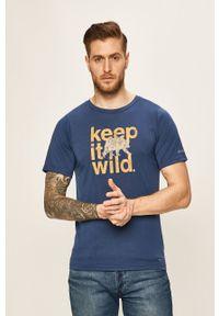 columbia - Columbia - T-shirt. Okazja: na co dzień. Kolor: niebieski. Materiał: dzianina, skóra. Styl: casual