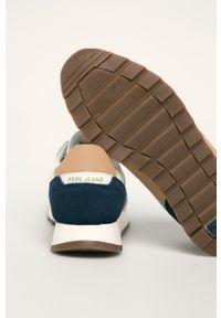 Białe sneakersy Pepe Jeans z cholewką, na sznurówki