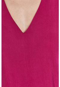 medicine - Medicine - Sukienka Summer Garden. Kolor: różowy. Materiał: tkanina. Długość rękawa: krótki rękaw. Wzór: gładki