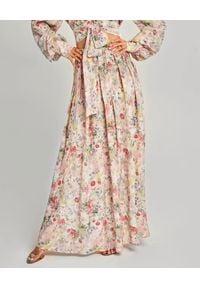 SELF LOVE - Jedwabna spódnica w kwiaty San Remo. Stan: podwyższony. Kolor: fioletowy, różowy, wielokolorowy. Materiał: jedwab. Wzór: kwiaty