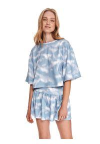 DRYWASH - Bluza tie dye. Kolor: biały. Materiał: tkanina. Długość: krótkie. Sezon: lato