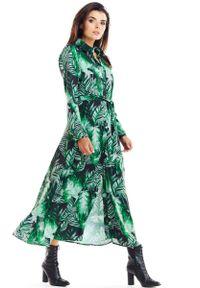 Awama - Zielona Maxi Szmizjerka z florystycznym Motywem. Kolor: zielony. Materiał: poliester, elastan. Wzór: kwiaty. Typ sukienki: szmizjerki. Długość: maxi