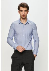 Niebieska koszula s.Oliver elegancka, z klasycznym kołnierzykiem, długa, gładkie