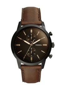 Fossil - Zegarek FS5437. Kolor: czarny. Materiał: skóra, materiał