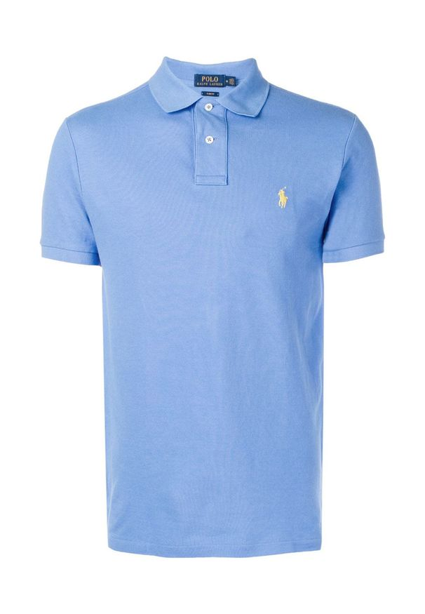 Ralph Lauren - RALPH LAUREN - Koszulka Polo Slim Fit Mesh. Typ kołnierza: polo. Kolor: niebieski. Materiał: mesh. Wzór: haft, aplikacja. Styl: klasyczny