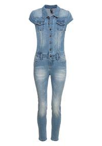 Kombinezon dżinsowy z guzikami bonprix lodowy niebieski denim. Kolor: niebieski. Materiał: denim. Styl: elegancki
