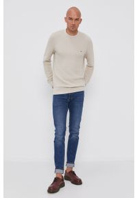 TOMMY HILFIGER - Tommy Hilfiger - Sweter. Okazja: na co dzień. Kolor: beżowy. Materiał: dzianina, bawełna. Długość rękawa: długi rękaw. Długość: długie. Styl: casual