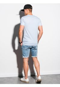 Ombre Clothing - T-shirt męski bawełniany basic S1369 - jasnoszary - XXL. Kolor: szary. Materiał: bawełna. Styl: klasyczny