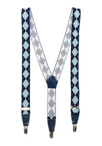 Niebieskie szelki w ażurowe wzory