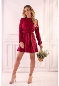 Czerwona sukienka wizytowa Merribel z falbankami, mini, wizytowa
