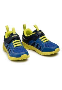 Geox - Sneakersy GEOX - J Sveth B. A J156PA 014BU C0749 S Navy/Lime. Okazja: na spacer. Zapięcie: rzepy. Kolor: niebieski. Materiał: skóra ekologiczna, materiał. Szerokość cholewki: normalna