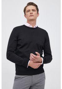 BOSS - Boss - Sweter wełniany. Okazja: na co dzień. Kolor: czarny. Materiał: wełna. Długość rękawa: długi rękaw. Długość: długie. Styl: casual