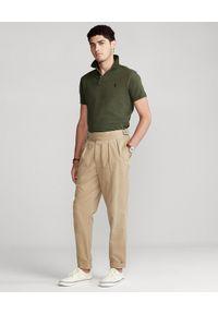 Ralph Lauren - RALPH LAUREN - Zielona koszulka polo SLim Fit Mesh. Typ kołnierza: polo. Kolor: zielony. Materiał: mesh. Długość: długie. Wzór: haft, ze splotem