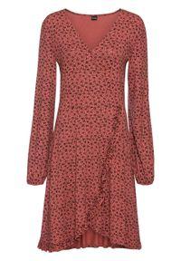 Czerwona sukienka bonprix z dekoltem w serek, kopertowa, w kwiaty