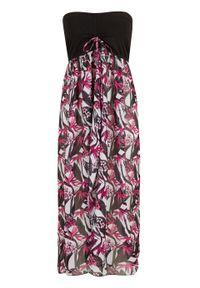 Sukienka plażowa bandeau bonprix biało-czarny w kwiaty. Okazja: na plażę. Kolor: biały. Wzór: kwiaty