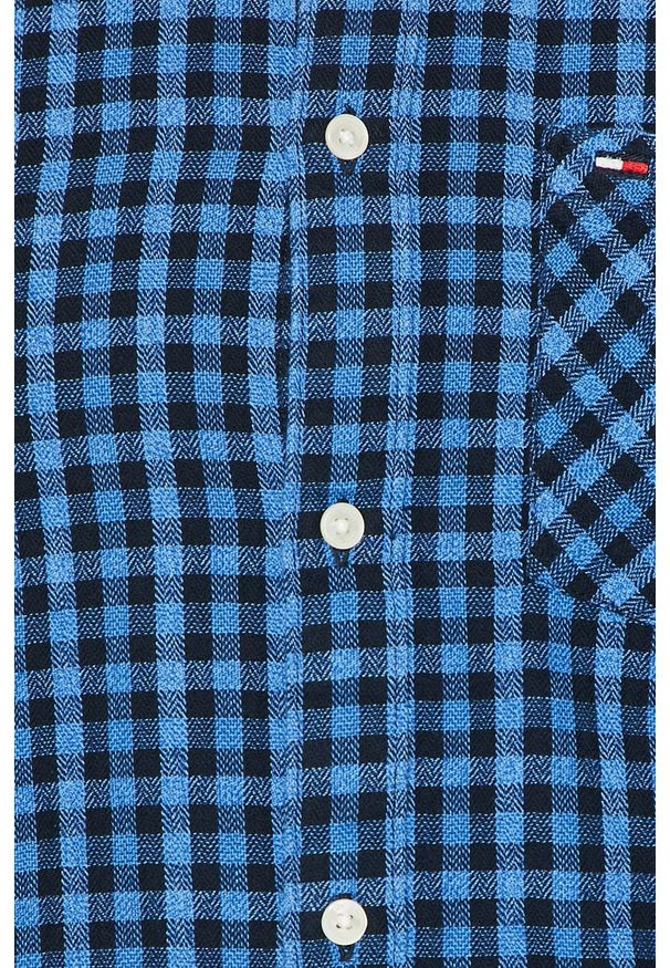 Niebieska koszula Tommy Jeans button down, casualowa, na co dzień