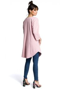 BE - Trapezowa tunika zaokrąglony dół i duże kieszenie różowa. Kolor: różowy. Materiał: bawełna, dzianina. Sezon: lato. Typ sukienki: trapezowe